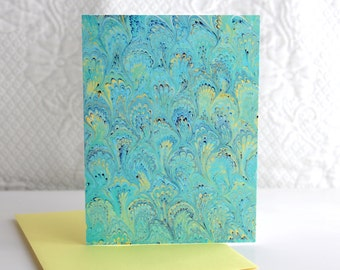 Easy Green Notecard Print - Single Card with Envelope - Marbled Print