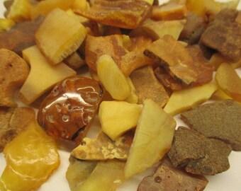 Amber Baltic Natural Genuine Raw 158.00 Gr Egg Yolk Yellow Cognac Color (SD077)