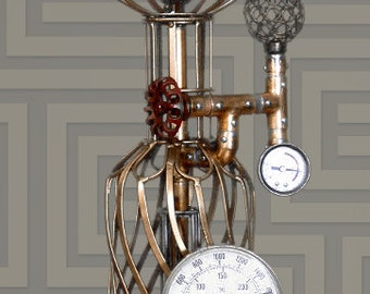 Steampunk, Gauges, Edison, Copper, Brass, Lamp, Art, Rivets, MasterGreig, MG-352