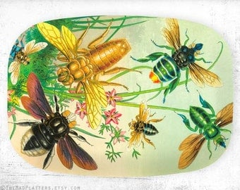 Bees II, insects melamine platter