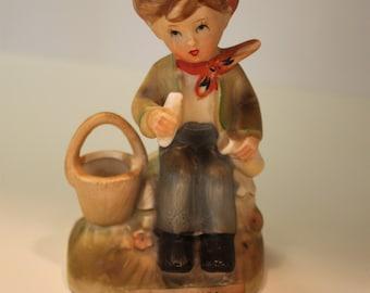 Vintage Erich Stauffer Picnic Time Boy Porcelain Figurine