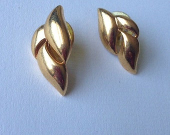 Vintage Napier Gold Tone Modernist Earrings