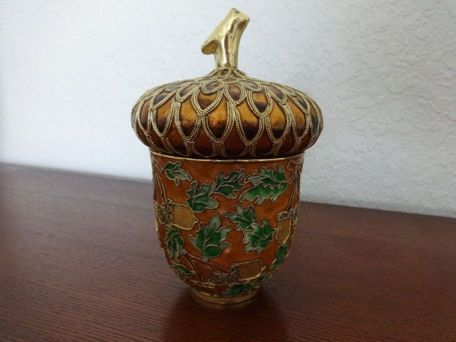 Cloisonne Harvest Theme Enameled Acorn Box