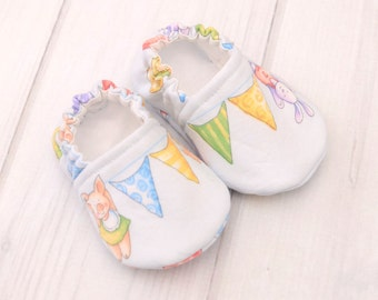 Slip on Walking Shoes - Animal Bunting - Best Baby Shoes - Infant Crib Shoes - Baby Shoes for Boys - 1429