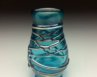 Blue and silver hand blown glass bud vase