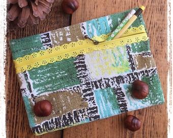 Vintage barkcloth fancy zip pencil case
