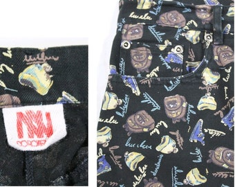 1990 Highwaisted Pants printed Dorotennis  made in France w26