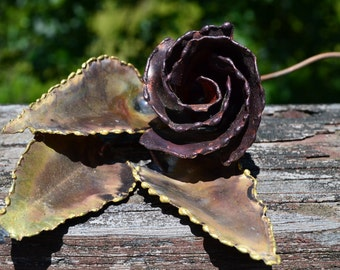Copper Rose Bud with Stem.  Free Standing Metal Single Rose Stem. Mid Century Metal Art Decor. VD36
