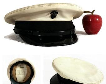 Vintage Military White Cap - USMC - Vinyl - Marine Cover - EGA - Art Caps - Lasta-Size - Militaria - 1970s - Bancroft - Zephyr