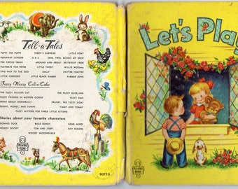 Vtg 1952 Let's Play by Georgiana Illustrated by Gavy Tell-a-Tale BookWhitman Publishing Co. Children Pretending To Be Animals, etc.Cute Book