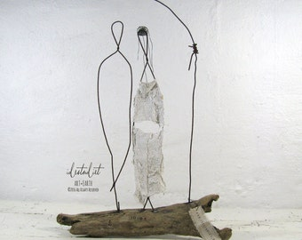 Hippie Wedding Couple Driftwood and Wire Sculpture Mixed Media Art