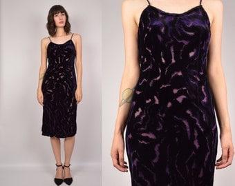 Sheer Purple Velvet Slip Dress Bodycon Vintage