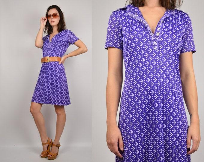 70's Graphic Print Shift Dress