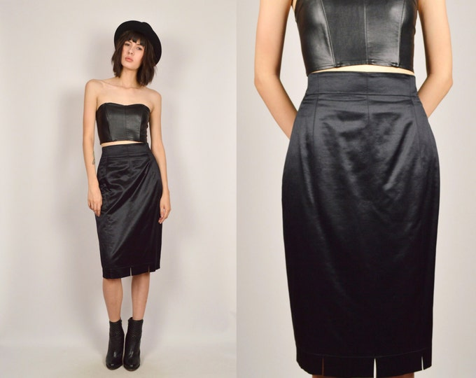 Vintage Escada Pencil Skirt Black High Waisted