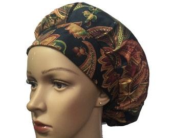Bouffant Surgical Scrub Hat - Flowers Arabesque Bouffant Scrub Hat - Ponytail Scrub hat - Custom Scrub Hat - Personalized Scrub hat
