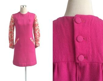 60's Mini Dress - Vintage 1960's Dress - Shocking Pink Thick Woollen Dress