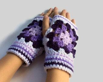 Crochet Fingerless Gloves | Granny Square Fingerless Mitts - White Fingerless Gloves - Crochet Fingerless Mittens - Texting Gloves