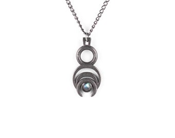 Chronos Necklace in Slate Steel - Chronos with his eternal coil of time