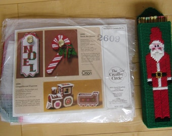 Vintage Christmas Craft Kit - The Creative Circle 2609, 1988 Plastic Canvas, Candy Cane and Noel Door Hanger, Santa Claus Match Holder