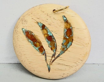 Turquoise and Amber - Wood Pendant