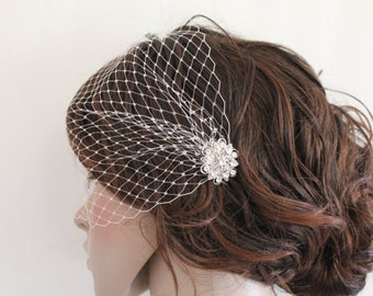 Bridal Comb with veil, Wedding Birdcage Veil, Bird Cage Veil,Rhinestone Fascinator Comb,Wedding Birdcage Veil,Wedding headpiece