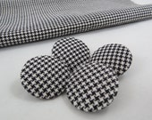 Covered Buttons - Houndstooth Buttons - Vintage Corduroy Buttons - Black White Houndstooth - Size 60 - 1960s Fabric - Free Shipping-116