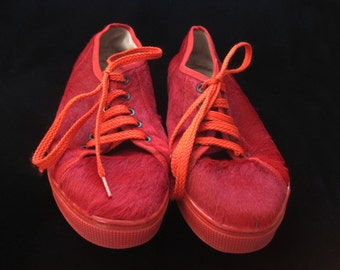 Vintage Red Sneakers Calf Hair Shoes Neiman Marcus Andrea Pfister Flats Pleated Size 38 Made in Italy Designer