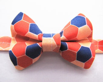 No-Tie Bowtie (Adult, child, or baby) - Coral & Navy Hex