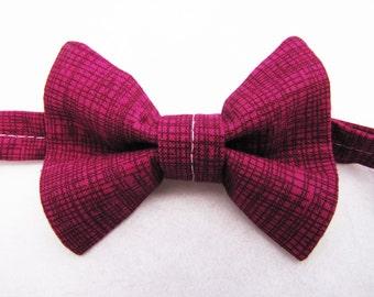 No-Tie Bowtie (Adult, child, or baby) - Magenta Crosshatch
