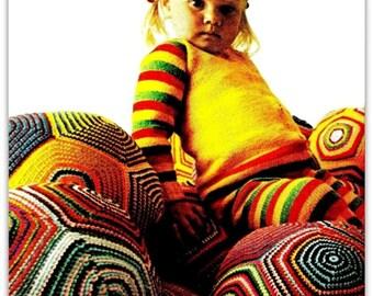 "Vintage 70's Crochet ""FLOOR PILLOW"" Ball Cushion - PDF Pattern"