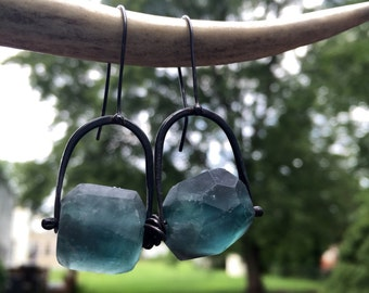 Teal Blue Fluorite Dangle Earrings Recycled Sterling Silver Gemstone Drop Stone Faceted Nugget Raw Beads Pinned Metalsmith Jewelry