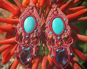 Turquoise blue topaz micro-macrame earrings