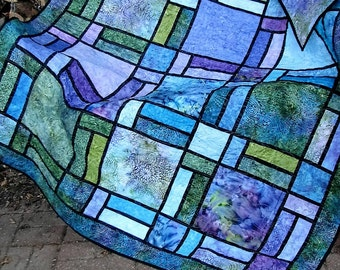 Quilt, Lap Quilt, Sofa Quilt, Quilted Throw - Stained Glass Jewel Batik Lap Quilt - Reserved for Shirley