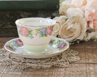 Vintage Colclough Pink Rosebuds Tea Cup and Saucer Set, English Bone China, Tea Parties, Wedding