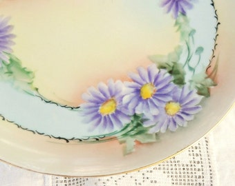 J & C Bavaria Dessert Plate, Antique Gilded Plate, Purple Flowers, Daisies, Tea Party Plate, Victorian Replacement China, Ca.1898