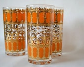 Tall Orange and Gold Culver Glasses S/3