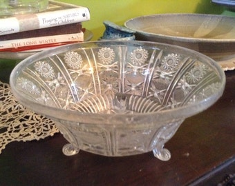 Vintage 60s plastic carved lucite bowl free shipping