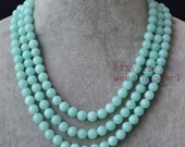 Mint blue Necklace,light blue jade necklace,3 row baby blue jade necklace,triple strand mint blue necklace,wedding bridesmaid jwelry