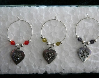 Set of 6 Silver Flower Heart Wine Glass Charms with multi coloured adjoining beads