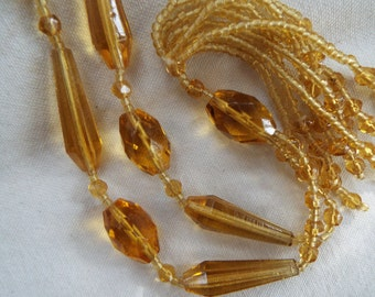 Art Deco Art Nouveau flapper amber cut crystal beaded lariat  sautior Y necklace with tassel lavaliere Czech glass