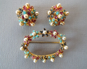 signed Austria Demi Parure rhinestone faux pearl  floral pin earrings