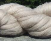 1/2 lb (8 ozs.) Natural Medium Sandy Beige Polwarth Bulk Wool Roving 25.5 microns, spin felt dye knit doll craft dryer balls stuffing fiber