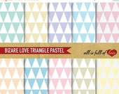 80% off Digital GRAPHICS Paper Pack TRIANGLE Patterns Pastel Colors 8,5x11 / A4 Backgrounds
