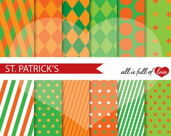 St Paddys Background Patterns Green Orange Digital Paper Irish Paper Pack St Patricks Day Digital Scrapbooking Sheets