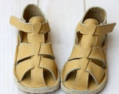 Yellow Toddler Leather Sandals, Vibram sole, support barefoot walking, sizes EU 16 to 24 - US 2 to 7.5