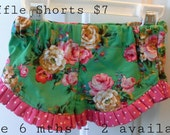 Dots & Flowers - Roses - Ruffle Shorts - Size 6 mth Shorts - Spring Summer - SALE - Clearance - Ready to Ship