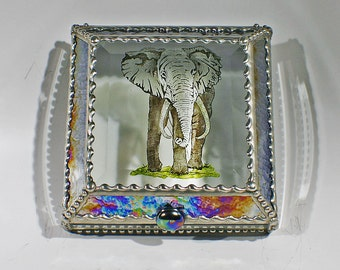 Etched, Hand Painted, Elephant, Africa, Stained Glass Box, Keepsake Box, Wildlife, Beveled, Gift Box