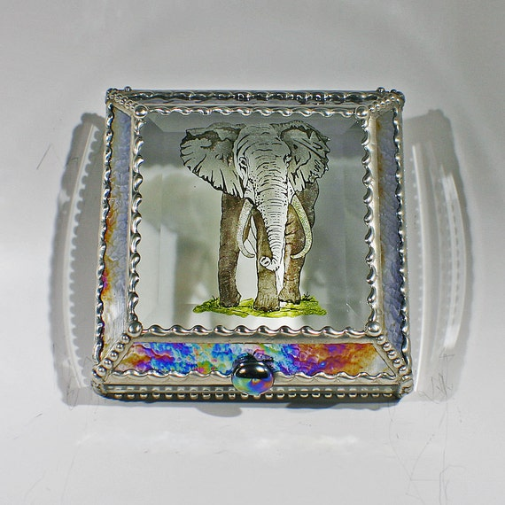 Etched, Hand Painted, Elephant, Africa, Stained Glass Box, Keepsake Box, Wildlife, Beveled, Gift Box