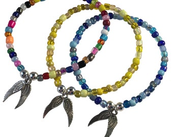 ANGEL WINGS Charm BRACELET with Multi-Colour Seed Glass Beads and Silver Beads