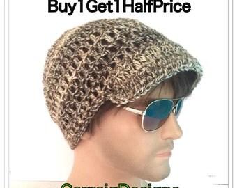 BUY1GET1HalfPRICE,browns newsboy peaked cap,Designer mans/mens/unisex guy hand crocheted/knit classic beanie visor hat,irish gaming hat hipp
